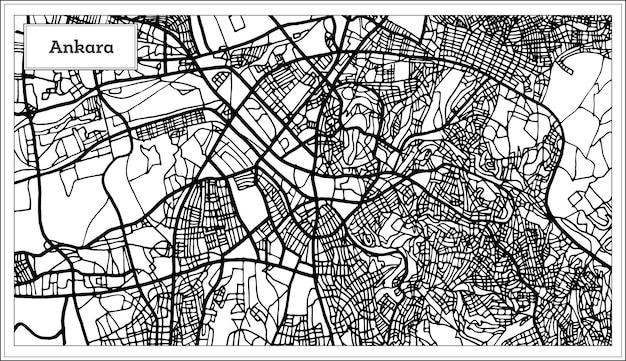 Mapa turcji ankara w kolorze czarno-białym. ilustracja wektorowa. mapa przeglądowa.