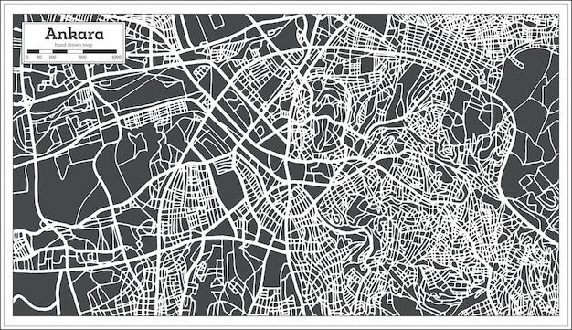 Mapa turcji ankara w stylu retro. ilustracja wektorowa. mapa przeglądowa.