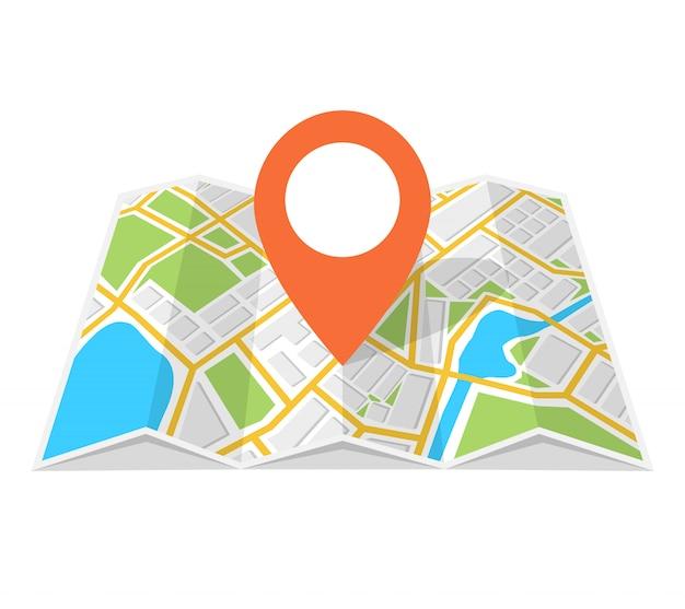 Mapa ulic ze szpilką w środku