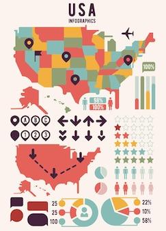 Mapa usa w stany zjednoczone ameryki z elementami infografiki