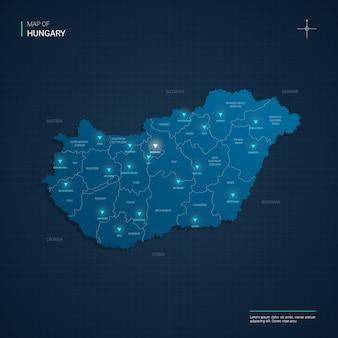 Mapa węgier z niebieskimi punktami świetlnymi neonu - trójkąt na ciemnoniebieskim gradiencie