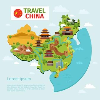 Mapa wektorowa podróży chiny z tradycyjnych chińskich zabytków. kultura azji wschodniej, turystyka wiejska. ilustracja wektorowa mapa chin podróży