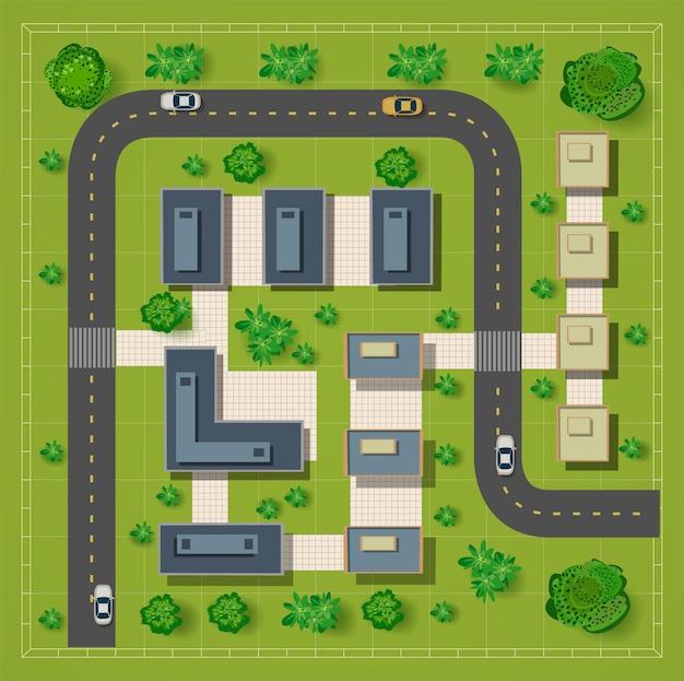 Mapa widoku z góry z dachów, ulic miasta, drzew i autostrad