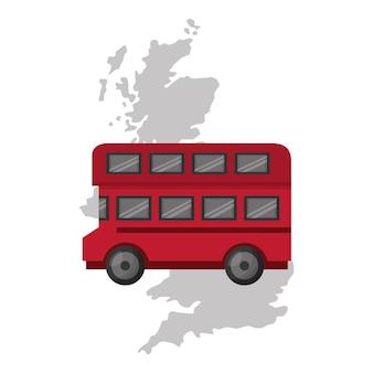 Mapa wielkiej brytanii z ikoną autobusu wektor ilustracja projektu