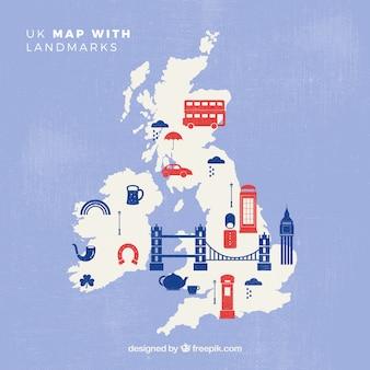 Mapa wielkiej brytanii z pomnikami