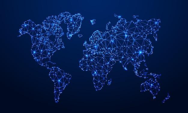 Mapa wielokątna. cyfrowa mapa globu, niebieskie wielokąty mapy ziemi i światowe połączenie z internetem 3d ilustracji siatki