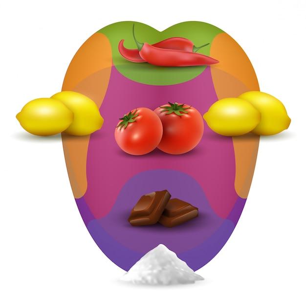 Mapa wizualnej degustacji w ustach z jedzeniem