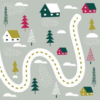 Mapa wsi z projektem domu i drzewa