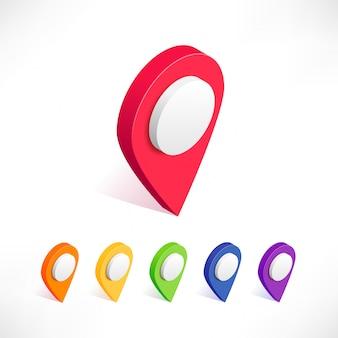 Mapa wskaźnik 3d zestaw ikon izometryczny pinezki. różne kolory symbol lokalizacji na białym tle. punkt lokalizacji w sieci web, ilustracja znaku geotag płaskiej mapy. można używać do sieci, aplikacji, infografik