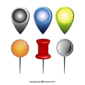Mapa wskaźniki sztuk w różnych kolorach i kształtach