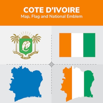 Mapa wybrzeża kości słoniowej, flaga i godło państwowe