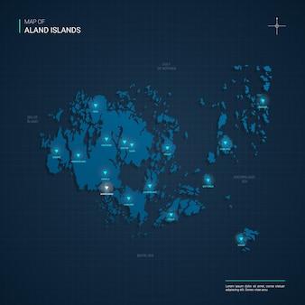 Mapa wysp alandzkich z niebieskimi punktami światła neonowego