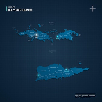 Mapa wysp dziewiczych z niebieskimi neonowymi punktami świetlnymi - trójkąt na ciemnoniebieskim gradiencie