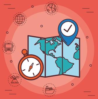 Mapa z ikonami związanymi z podróżą