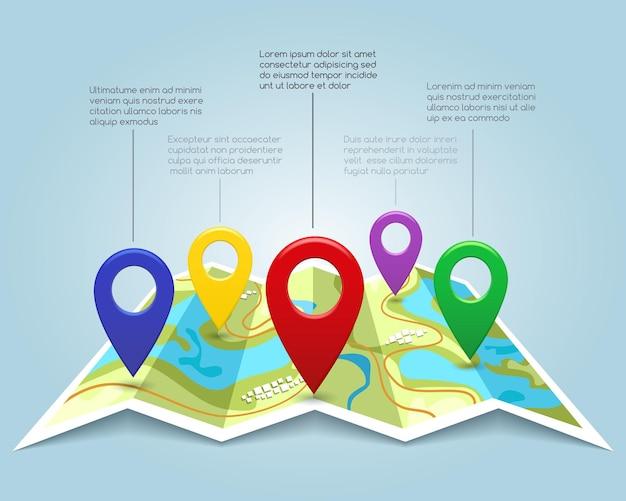Mapa z ilustracji wektorowych znaczników pin
