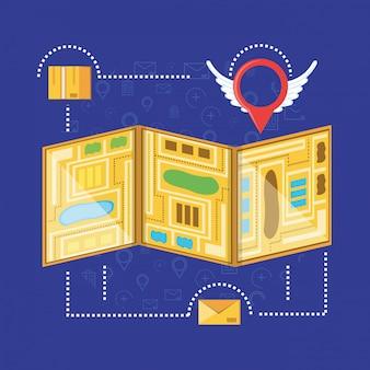 Mapa z ustawionymi ikonami usług logistycznych