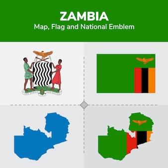 Mapa zambia, flaga i godło państwowe