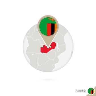 Mapa zambii i flaga w koło. mapa zambii, pin flaga zambii. mapa zambii w stylu globu. ilustracja wektorowa.