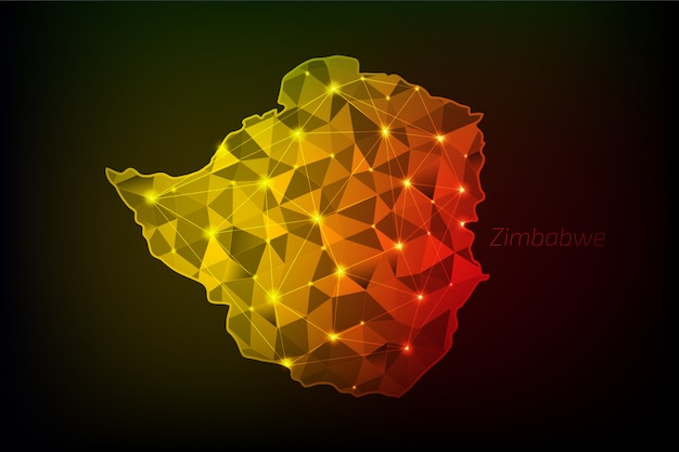 Mapa zimbabwe wielokątna ze świecącymi światłami i linią