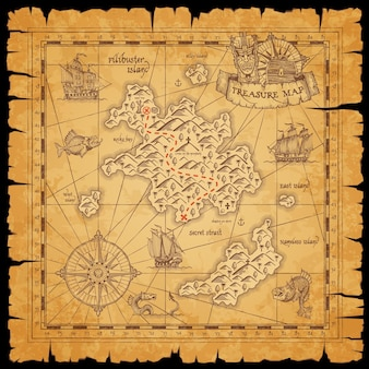 Mapa zwojów pirackich skarbów z morzem, wyspami filibusterów i statkami
