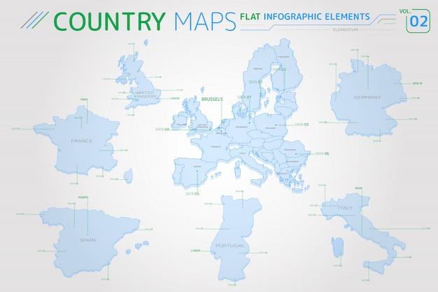 Mapy europy, wielkiej brytanii, francji, hiszpanii, portugalii, włoch i niemiec