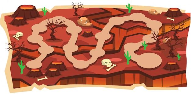 Mapy gier wulkanicznych magma 2d ze ścieżką i czerwoną ziemią