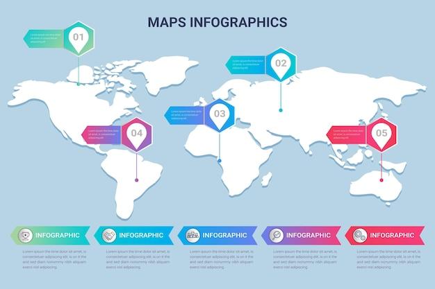 Mapy infografiki w płaskiej konstrukcji