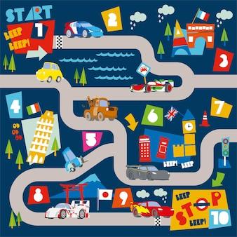 Mapy toru wyścigowego i ilustracja liczb do nauki dla dzieci bawią się matą i matą rolkową