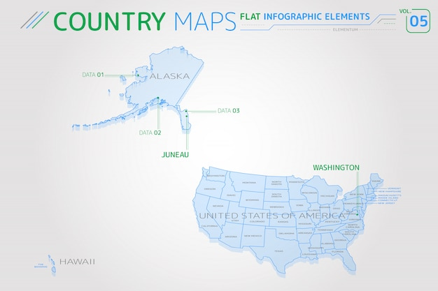 Mapy wektorowe stanów zjednoczonych, alaski, hawaje