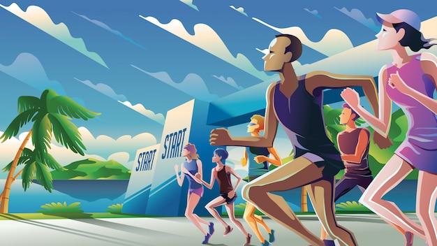 Marathon running theme art