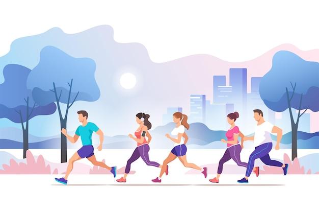 Maraton miejski. grupa ludzi biegających w miejskim parku publicznym. zdrowy tryb życia. ilustracja w modnym stylu.