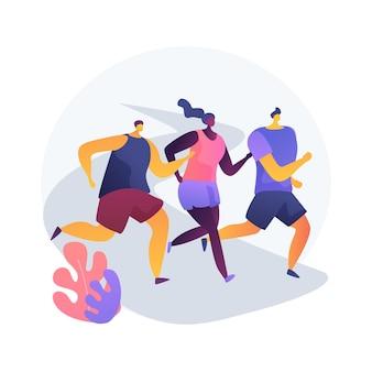 Maraton streszczenie koncepcja ilustracji wektorowych. zawody biegowe, aktywny tryb życia, wyścig długodystansowy, trening atletyczny, trening sportowy, fitness uliczny, abstrakcyjna metafora zwycięzcy sprintu.