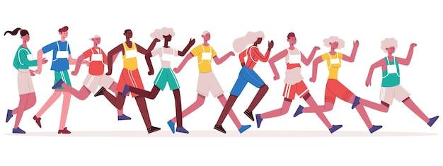 Maratończycy biegający. jogging sportowców grupy, sprint mężczyzn i kobiet na białym tle ilustracji wektorowych. zawody w wyścigach maratonowych