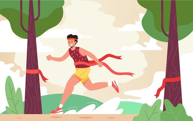 Maratończyk dociera do mety, nowoczesna koncepcja projektowania płaskich ilustracji dla stron internetowych lub tła