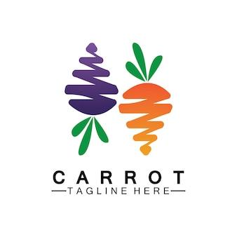 Marchew logo wektor ikona ilustracja szablon projektu