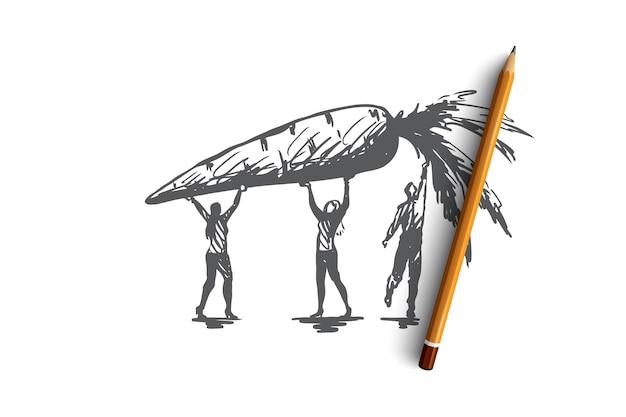 Marchew, żywność, warzywa, świeże, ekologiczne pojęcie. ręcznie rysowane człowiek i szkic koncepcji duże jabłko. ilustracja.