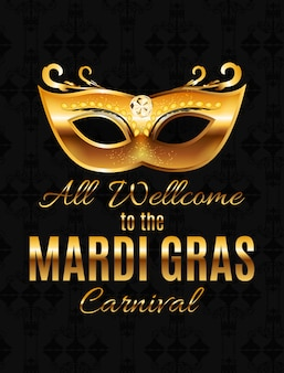 Mardi gras py mask holiday plakat tło. illustra