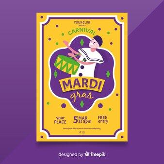 Mardi gras szablon ulotki
