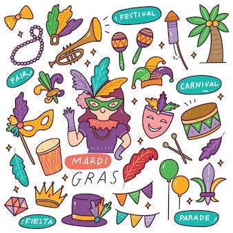 Mardi grass doodles zestaw ilustracji
