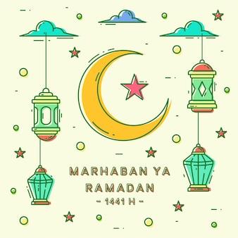 Marhaban ya ramadan cute monoline line art design