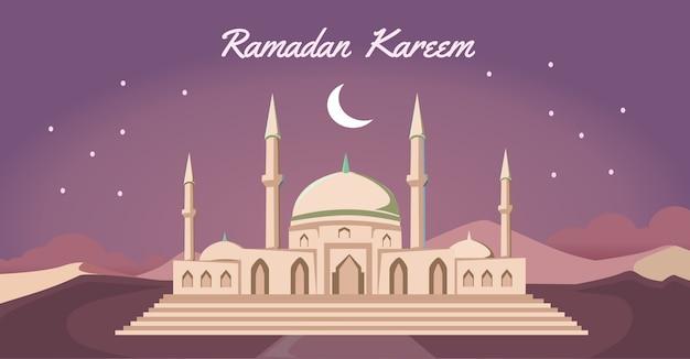 Marhaban ya ramadan, eid mubarak ilustracja z lampami