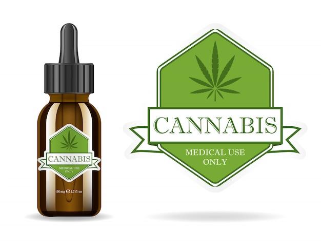 Marihuana, konopie indyjskie, olej konopny. realistyczna brązowa szklana butelka z ekstraktem z konopi indyjskich. ikona etykiety produktu i szablon graficzny logo. ilustracja na białym tle.