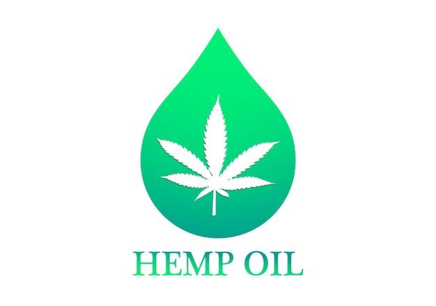 Marihuana lub konopie indyjskie. olej konopny z liśćmi marihuany i kroplą oleju konopnego. ikona kropli oleju z liściem marihuany. ilustracja wektorowa
