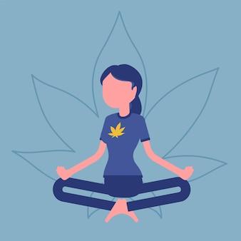Marihuana lub lek z konopi indyjskich do celów medycznych, rekreacyjnych. kobieta relaksująca się w pozycji lotosu, szczęśliwy pacjent łagodzi objawy palenia zioła, cieszy się działaniem narkotycznym. ilustracja wektorowa, postać bez twarzy