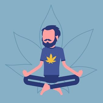 Marihuana lub narkotyk z konopi indyjskich do celów medycznych, rekreacyjnych. człowiek relaksujący się w pozycji lotosu, szczęśliwy pacjent łagodzi objawy palenia zioła, cieszy się działaniem narkotycznym. ilustracja wektorowa, postać bez twarzy