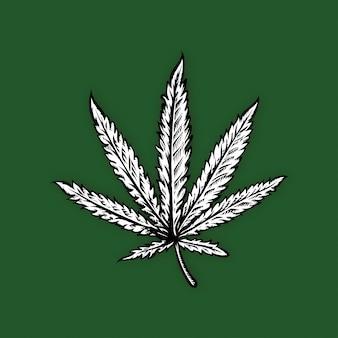 Marihuana w stylu grafiki rysowane ręcznie ilustracji