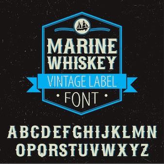 Marine whiskey label font plakat z dekoracją i alfabetem na czarnej ilustracji