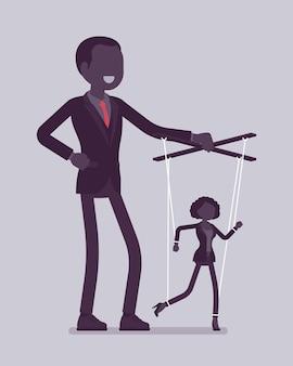 Marionetkowa bizneswoman manipulowana i kontrolowana przez męskiego lalkarza. menedżerka pod wpływem szefa, silny mężczyzna z autorytetem operuje słabą kobietą. ilustracja wektorowa, postacie bez twarzy
