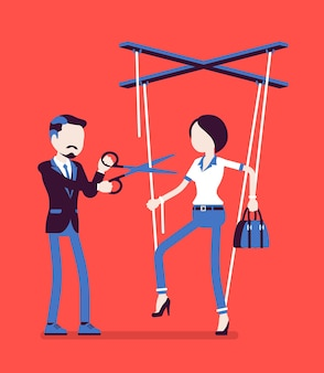Marionetkowa bizneswoman wolna od niewoli. wyzwolenie kobiety, dziewczyna dostała prawa osobiste po wpływach i kontroli, mężczyzna tnie nożyczkami sznurki lalki. ilustracja wektorowa, postacie bez twarzy