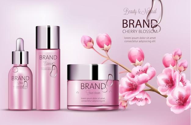 Marka kosmetyków w kolorze wiśniowo-różowym. zestaw butelek z esencją, kremem do twarzy, balsamem. lokowanie produktu. kwiat wiśni. pokryta rosą. miejsce na markę. realistyczne s